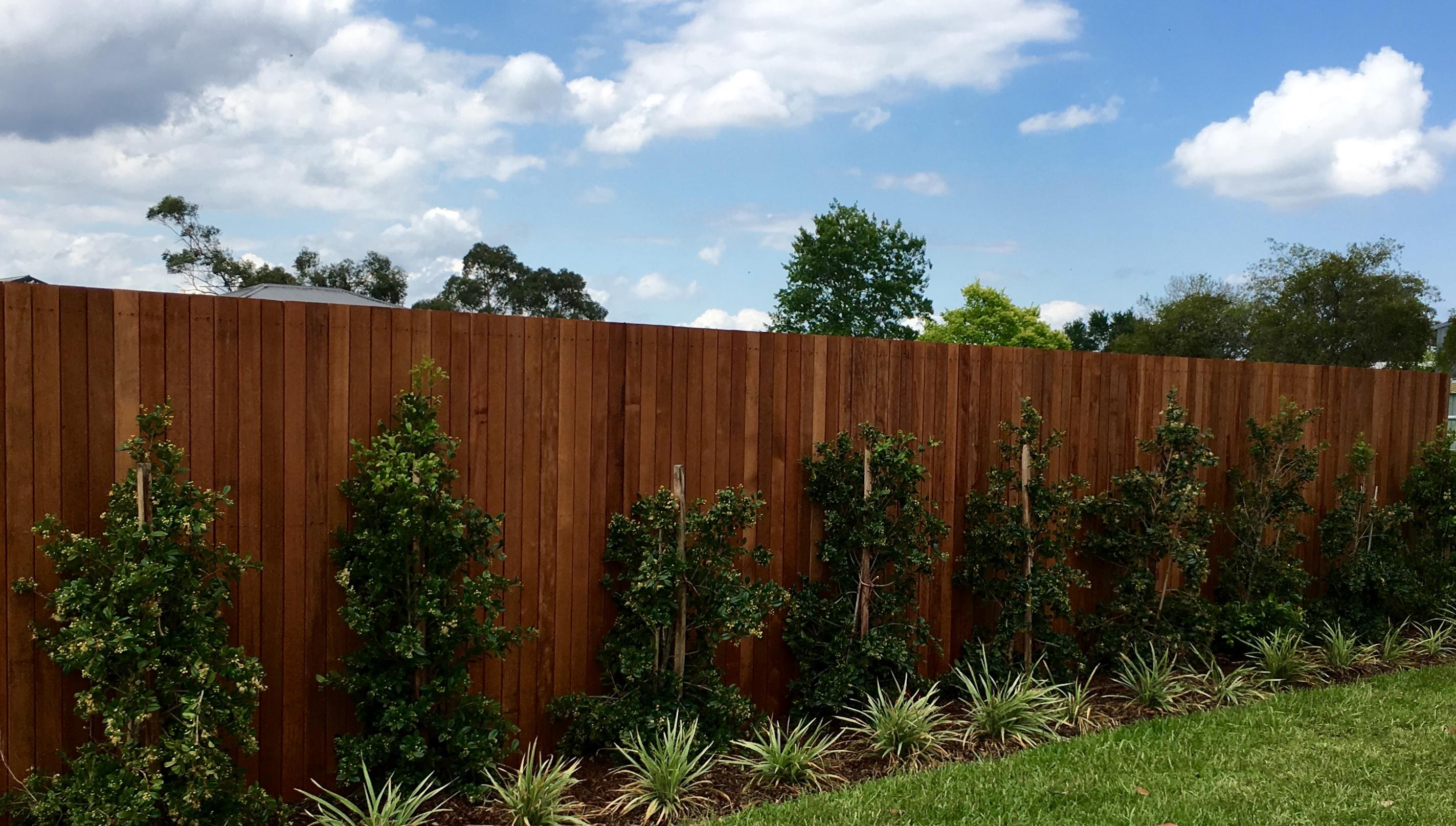 Hardwood closed picket fence